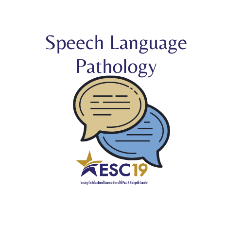 Two speech bubbles with the title Speech Language Pathologist