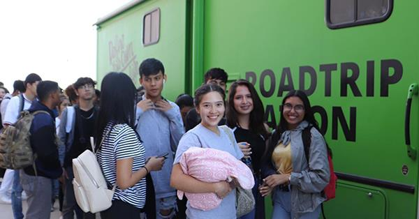 Students got a chance to go inside the Roadtrip Nation RV