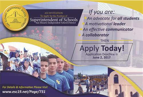 Apply for Superintendent of San Elizario